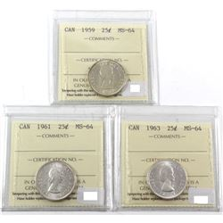 1959, 1961 & 1963 ICCS Certified MS-64. 3pcs