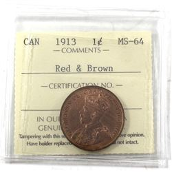 1913 Canada 1-cent ICCS Certified MS-64 Red and Brown