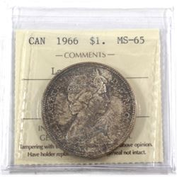1966 Canada Silver $1 Large Beads ICCS Certified MS-65