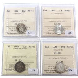 1962-1968 Canada 10-cent ICCS Certified MS-65 - 1962, 1966, 1967 & 1968 Silver. 4pcs