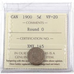 1900 Canada 5-cent Round 0 ICCS Certified VF-20