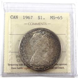 1967 Canada Silver $1 ICCS Certified MS-65