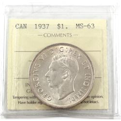 1937 Canada Silver $1 ICCS Certified MS-63