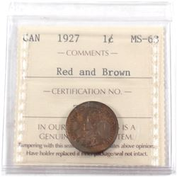 1927 Canada 1-cent ICCS Certified MS-63 Red and Brown