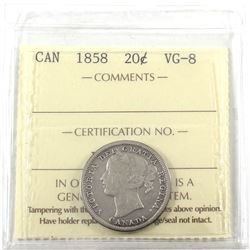 1858 Canada 20-cent ICCS Certified VG-8