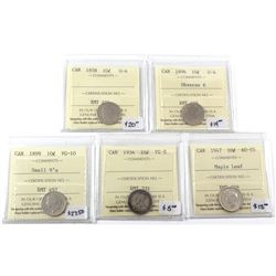 1858-1947 Canada 10-cent ICCS Certified - 1858 G-4, 1896 Obverse 6 G-4, 1899 Small 9's VG-10, 1934 V