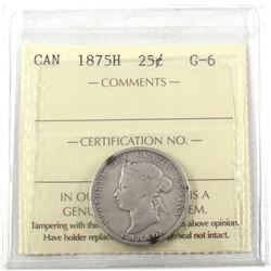 1875H Canada 25-cent ICCS Certified G-6