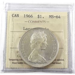 1966 Canada Silver $1 Large Beads ICCS Certified MS-64