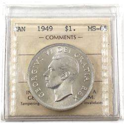 1949 Canada Silver $1 ICCS Certified MS-65