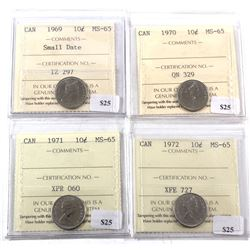 1969-1972 Canada 10-cent ICCS Certified MS-65 - 1969 Small Date, 1970, 1971 & 1972. 4pcs