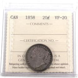 1858 Canada 20-cent ICCS Certified VF-20