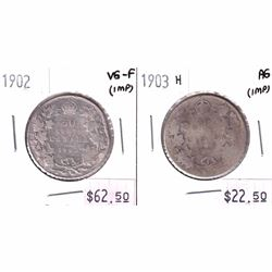 1902 Canada 50-cent VG-F & 1903H 50-cent AG (coins are impaired). 2pcs