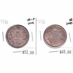 1934 Canada 50-cent VG-F (scratched) & 1936 50-cent VG (Impaired). 2pcs