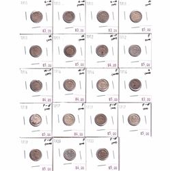 Group Lot of 1911-1920 Canada 5-cent in Good to F-VF Condition - 6x 1911, 2x 1912, 3x 1914, 1916, 19