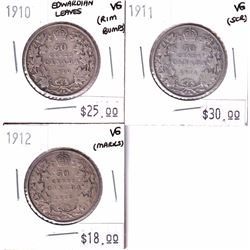 1910 Canada 50-cent Edwardian Leaves, 1911 50-cent & 1912 50-cent All VG Condition (coins contain va