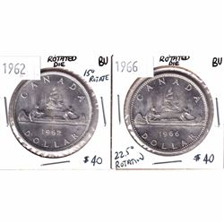 1962 & 1966 Canada Silver $1 with Rotated Dies Brilliant Uncirculated. 1962 has a 15 degree rotation
