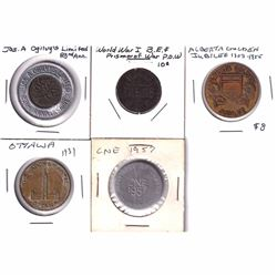 Lot of Vintage Tokens - Jas. A. Ogilvy's Limited 83rd Anniversary with 1949 1-cent, World War I Pris