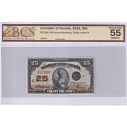 1923 25c DC-24c, Dominion of Canada, McCavour-Saunders, Check Letter K, S/N: 492020, BCS Certified A