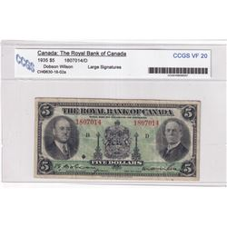 1935 $5 630-18-02a, The Royal Bank of Canada, Dobson-Wilson, Large Signatures, Check Letter D, S/N: