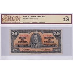 1937 $50 BC-26b, Bank of Canada, Gordon-Towers, Changeover, S/N: B/H3199385, BCS Certified F-18.