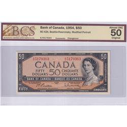 1954 $50 BC-42b, Bank of Canada, Beattie-Rasminsky, Modified Portrait, Changeover, S/N: B/H5179363,