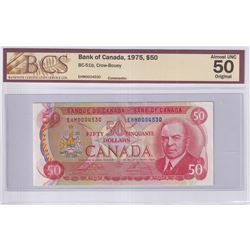 1975 $50 BC-51b, Bank of Canada, Crow-Bouey, S/N: EHM0004530, BCS Certified AU-50 Original.