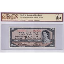 1954 $100 BC-43a, Bank of Canada, Beattie-Coyne, Modified Portrait, Changeover, S/N: A/J4234237, BCS