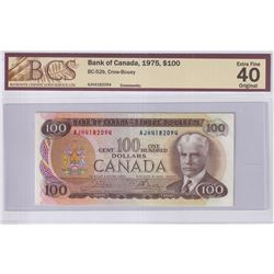 1975 $100 BC-52b, Bank of Canada, Crow-Bouey, S/N: AJH4182094, BCS Certified EF-40 Original.