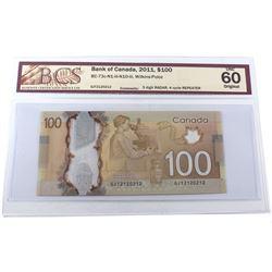 RADAR 2011 $100 BC-73c-N1-iii-N10-iii, Bank of Canada, Wilkins-Poloz, 3 Digit RADAR, 4 Cycle REPEATE