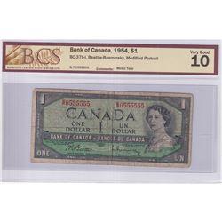 1954 $1 BC-37b-i, Bank of Canada, Beattie-Rasminsky, Modified Portrait, Neat Number, S/N: B/P0555555