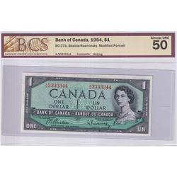 1954 $1 BC-37b, Bank of Canada, Beattie-Rasminsky, Modified Portrait, Neat Number, S/N: K/N3333344,