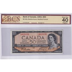 1954 $50 BC-42a, Bank of Canada, Beattie-Coyne, Modified Portrait, Changeover, S/N: A/H4029136, BCS