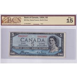 1954 $5 BC-31a, Bank of Canada, Coyne-Towers, Devil's Face, S/N: A/C5619997, BCS Certified F-15. Not