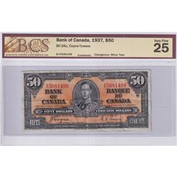 1937 $50 BC-26c, Bank of Canada, Coyne-Towers, Changeover, S/N: B/H5081498, BCS Certified VF-25 (Min