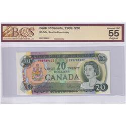 1969 $20 BC-50a, Bank of Canada, Beattie-Rasminsky, S/N: EB9789622, BCS Certified AU-55 Original.