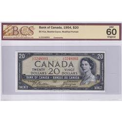 1954 $20 BC-41a, Bank of Canada, Beattie-Coyne, Modified Portrait, S/N: H/E5248993, BCS Certified UN