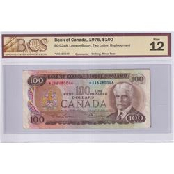 1975 $100 BC-52aA, Bank of Canada, Lawson-Bouey, Two Letter, Replacement, S/N: *JA6480046, BCS Certi