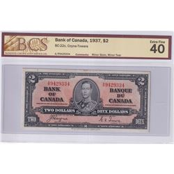 1937 $2 BC-22c, Bank of Canada, Coyne-Towers, S/N: A/R9429334, BCS Certified EF-40 (Minor Stain, Min