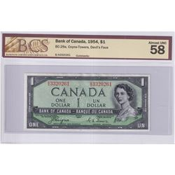 1954 $1 BC-29a, Bank of Canada, Coyne-Towers, Devil's Face, S/N: B/A3320261, BCS Certified AU-58.