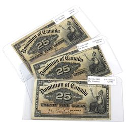1900 25c Dominion of Canada Full Signature Series - DC-15a Courtney (Holes), DC-15b Boville (Holes)
