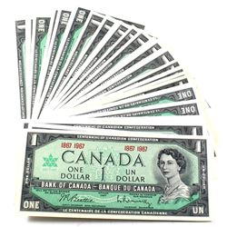 Group Lot of 40x 1867-1967 $1 No Serial Number Bank of Canada Notes Uncirculated. 40pcs.