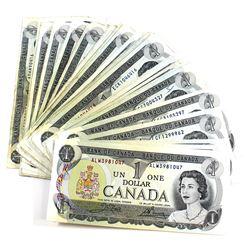 Estate Lot of 1973 $1 Canada Notes, many different prefixes! 55pcs
