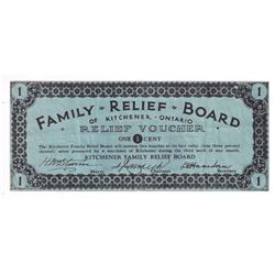 DC-070-2a, 1-cent, Family Relief Board of Kitchener, Ontario Relief Voucher, VF.