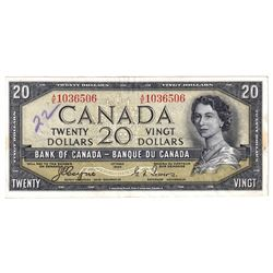 1954 Canada $20 Devil's Face Note in Extra Fine condition (writing '22' on front of Note)