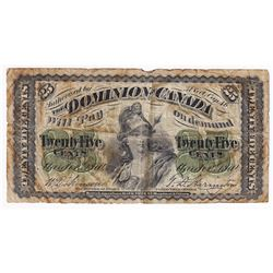 1870 25c DC-1c, Dominion of Canada Note, Plain Series, Fine (Stains).