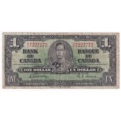 1937 $1 BC-21c, Bank of Canada Note with Neat Serial Number Z/L7227772.