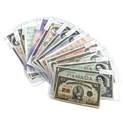 Lot of 13x 25c - $100 Bank of Canada Notes. You will receive 1923 DC-24c 25c, 1954 BC-29b $1 Devil's
