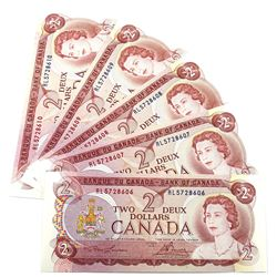 1974 $2 Bank of Canada Lawson-Bouey Signature Notes with Consecutive Serial Numbers RL5728606-10. 5p