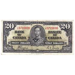 1937 $20 BC-25c, Bank of Canada, Coyne-Towers, J/E3725030, VF. Note contains a hole and a pinhole on