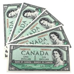 1954 $1 Bank of Canada Beattie-Rasminsky Signature Notes with Consecutive Serial Numbers C/Y8096914-
